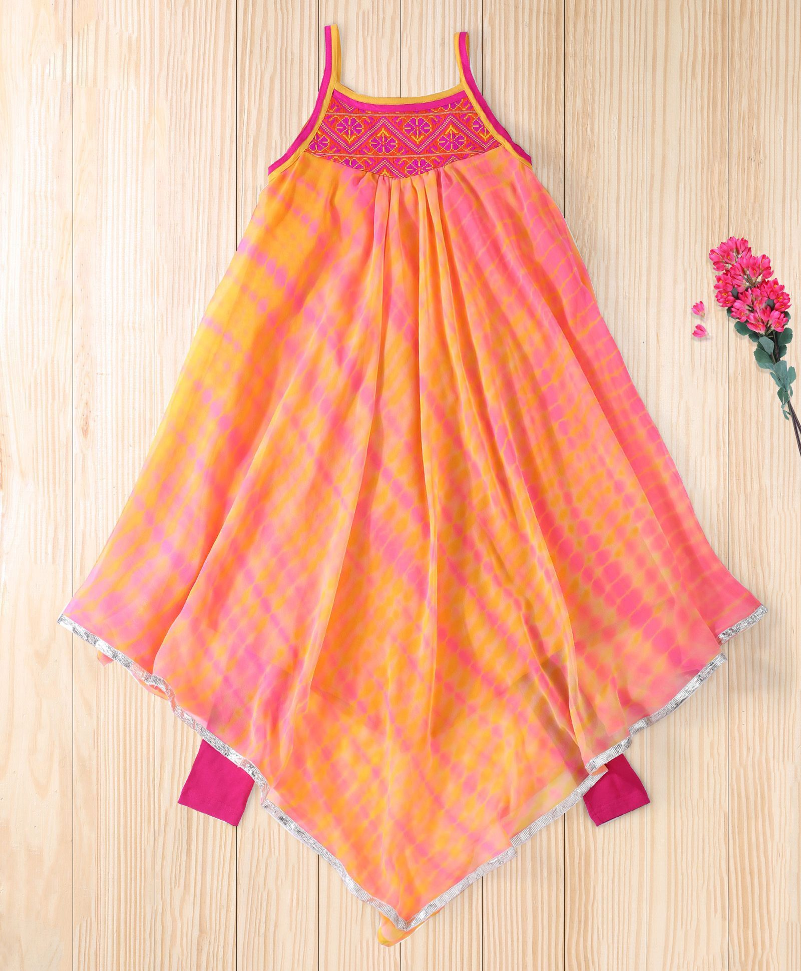 Twisha orange asymetrical hem shibori kurta with leggings long