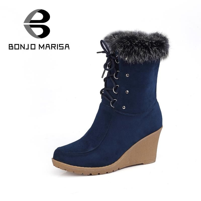 (Buy here: http://appdeal.ru/1fqu ) Women's Shoes Wedge High Heel Ankle Boots 2015 Fashion Lace Up Casual Female Warm Fur Shoes Platforms Winter Snow Boots for just US $63.33