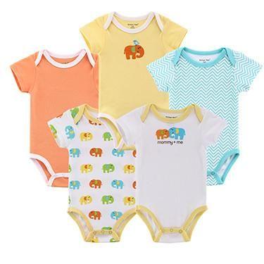 79da68fbbd4e Summer 5 pcs lot Baby Clothes Baby Romper O-Neck 100%Cotton Cute ...