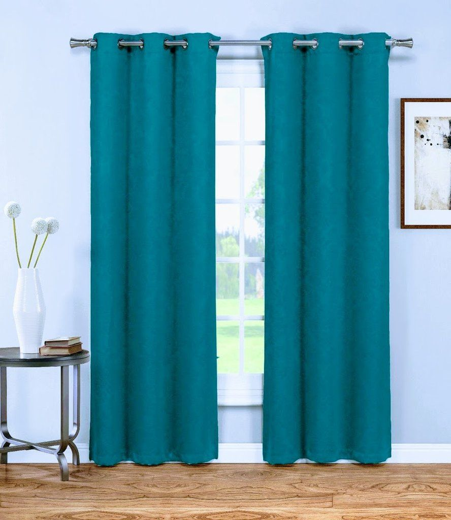 Warm home designs 1 pair of 38 dark teal blue insulated thermal blackout energy efficient curtains