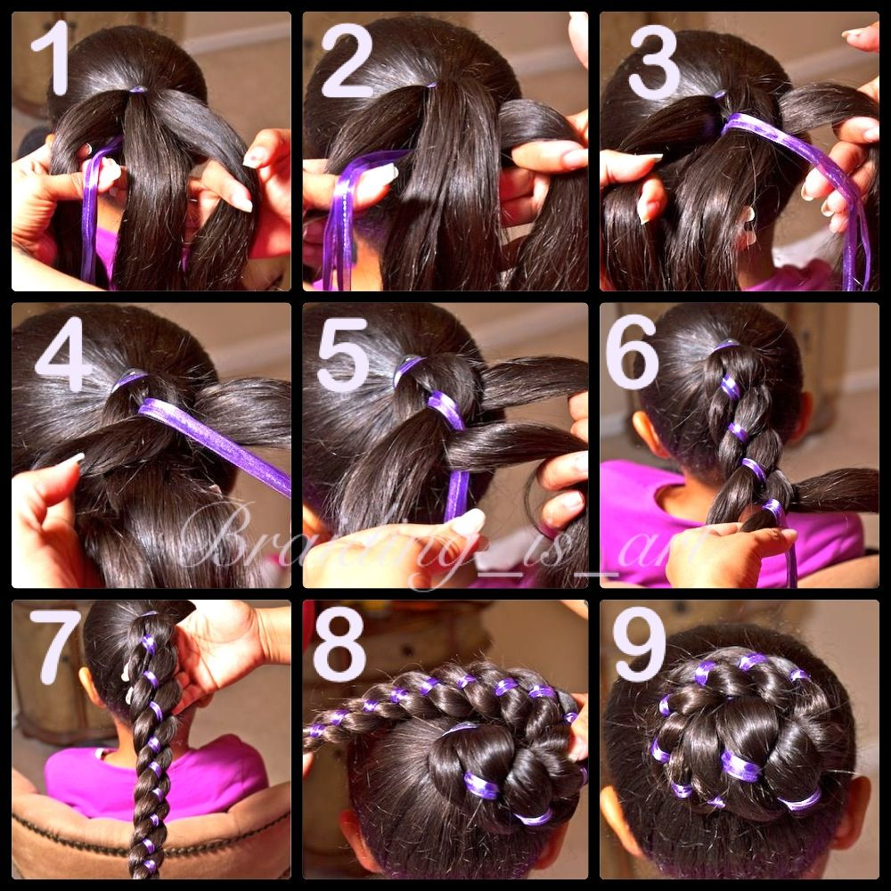 Pictorial On Four Strand Ribbon Braid Into A Bun 1 Divide Hair Into 3 Equal Parts From Right To Left Strand Str Ribbon Hairstyle Hair Styles Kids Hairstyles