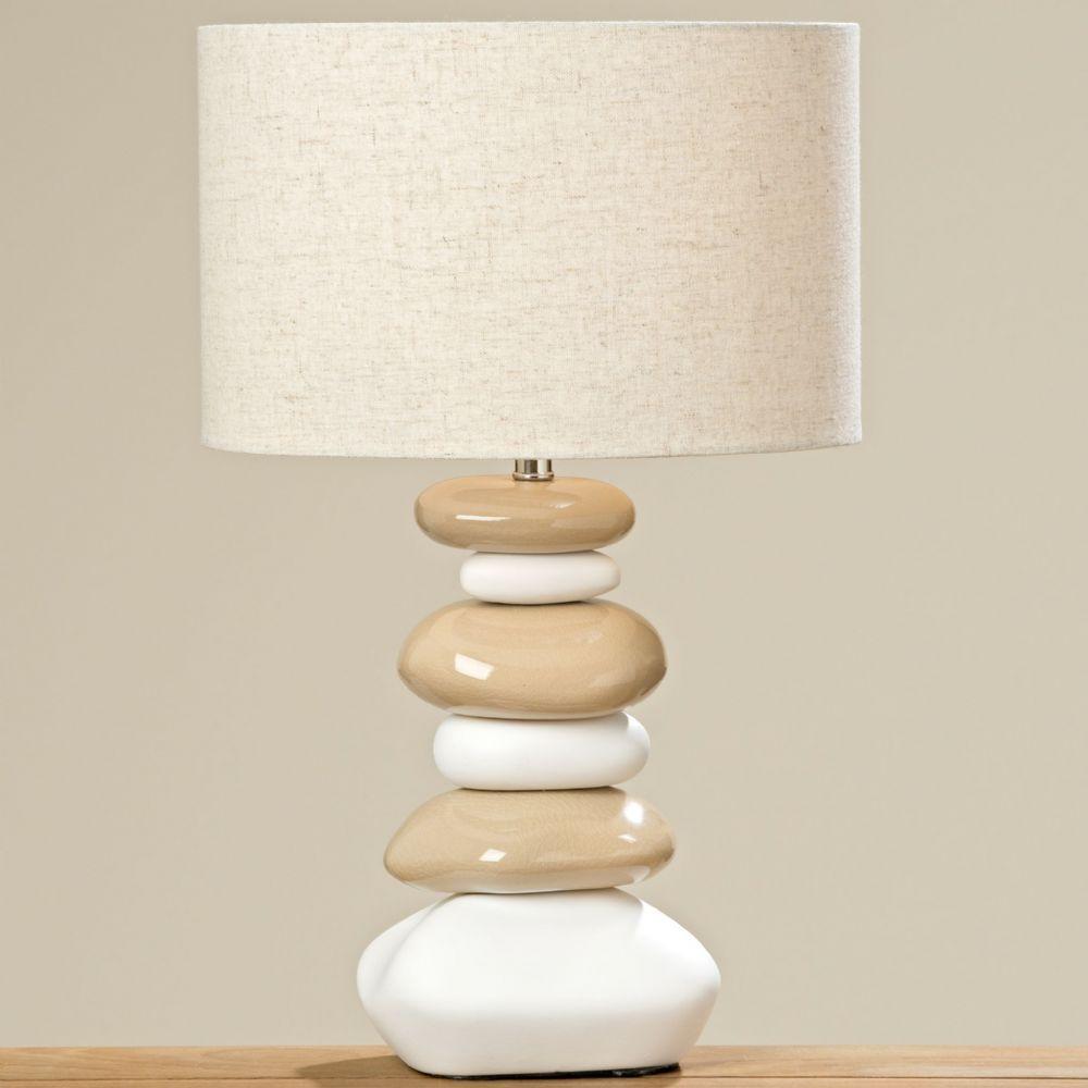 Natural Ceramic Pebble Table Lamp &