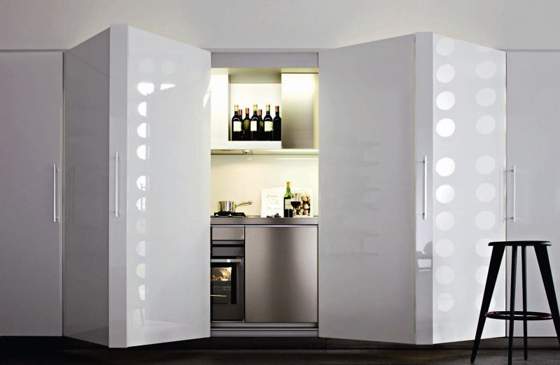 Hidden Kitchen Design A Kitchen Hiddenlarge Folding Doors So You Have Only A Wall Of