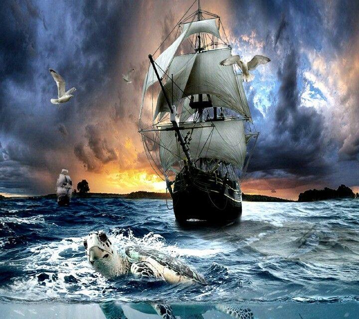 картинки пиратских парусников в шторм смерти