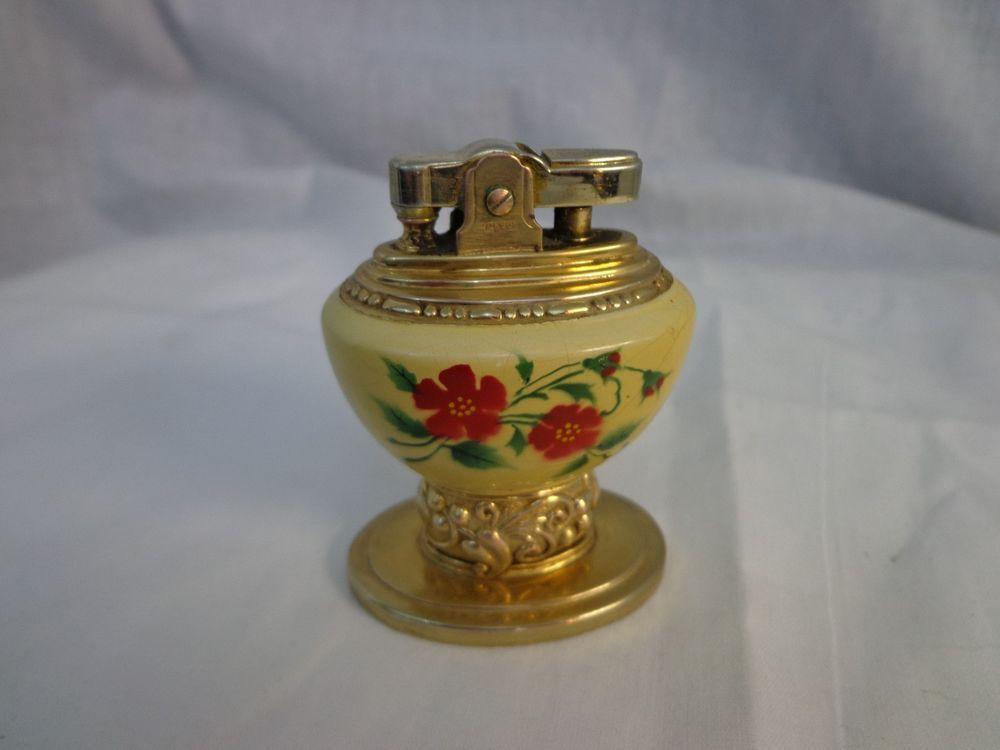 Vintage Ronson Leona Lighter Porcelain with Flower design