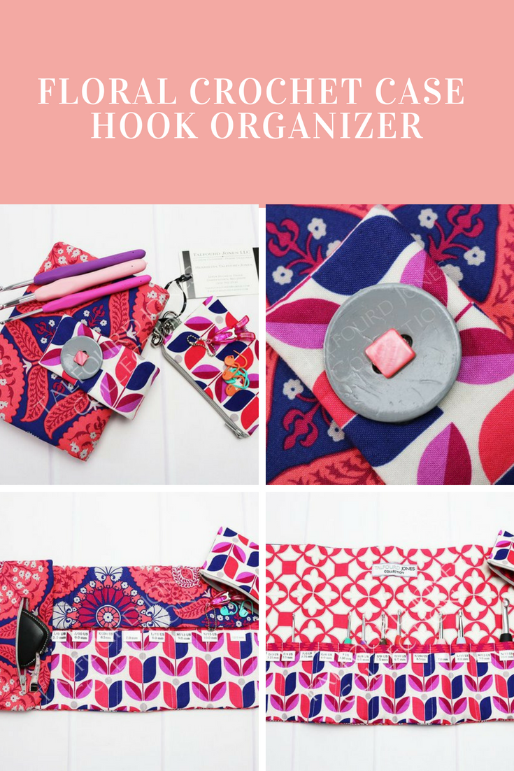 Floral Crochet Hook Case with Numbered Pockets, Perfect