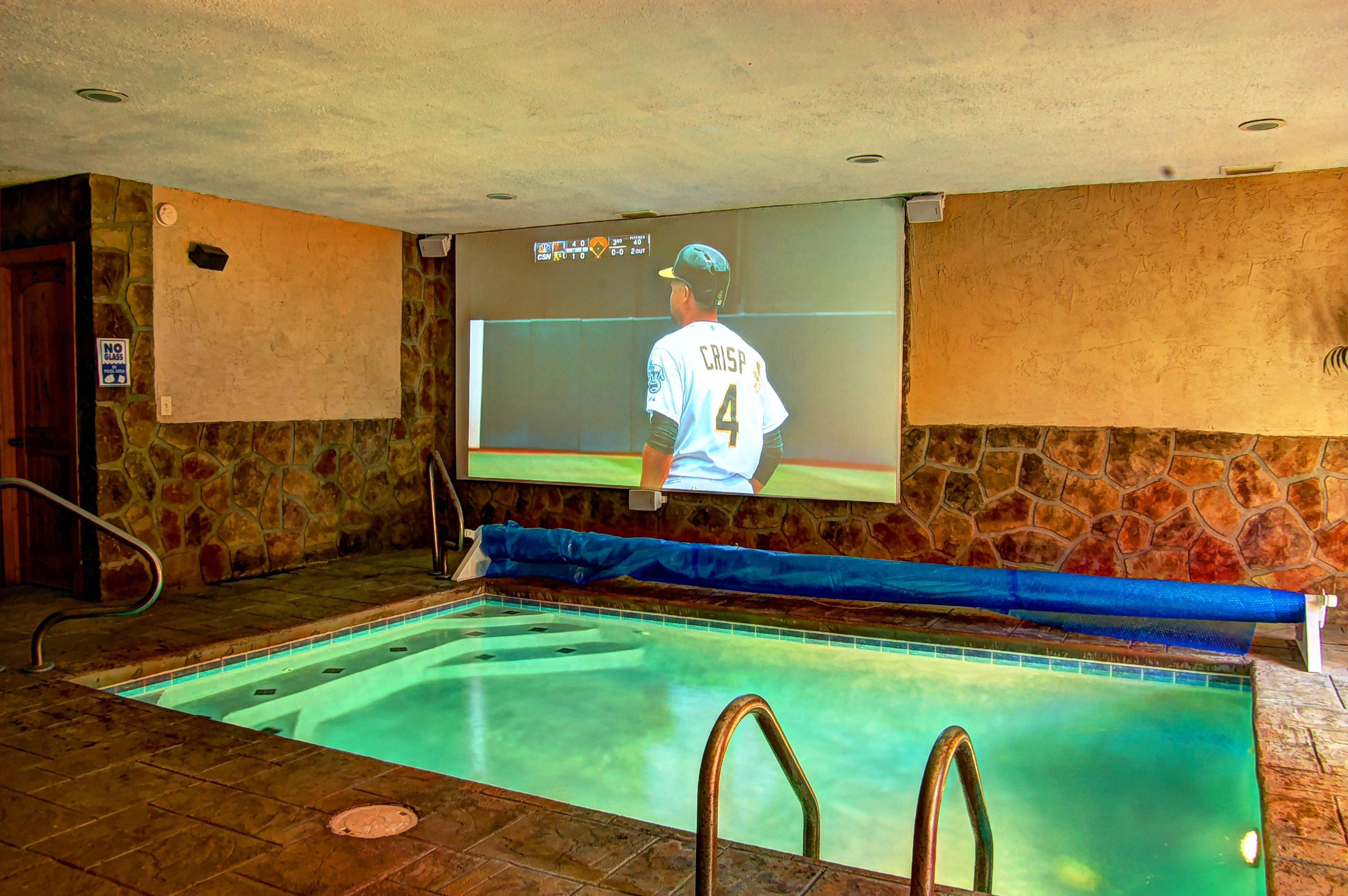 Enjoy your own private indoor pool theater at Skinny dippin pool