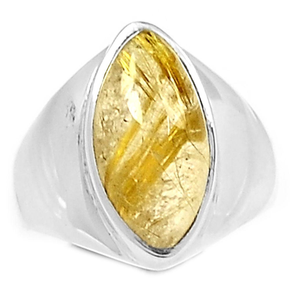 Golden Rutile 925 Sterling Silver Ring Jewelry s.7 GRUR883 - JJDesignerJewelry