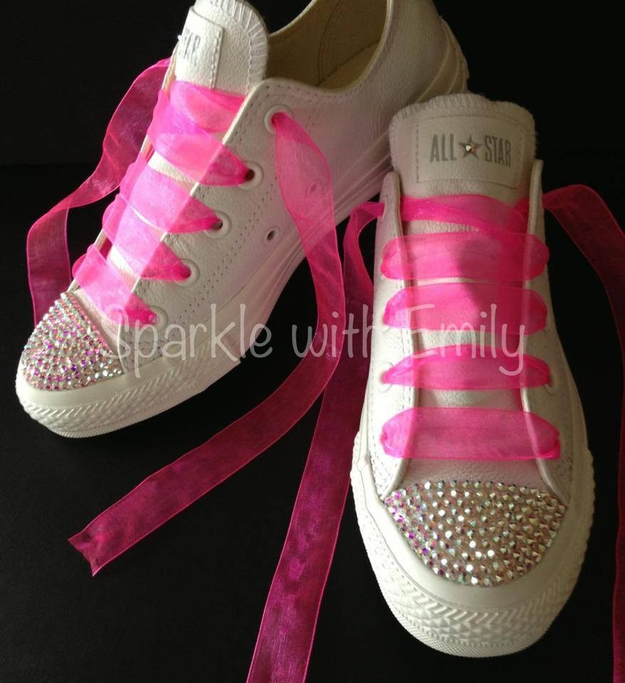 62df83d6cdfef3 SWAROVSKI FOOTWEAR - SWAROVSKI CONVERSE - All White Converse with AB  Swarovski crystal toe caps and
