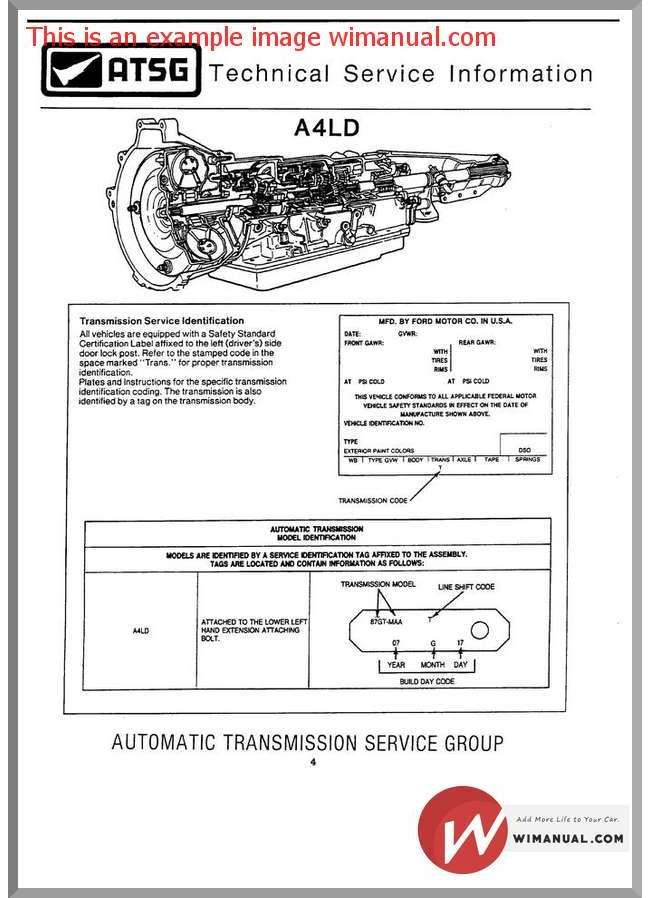 Ford A4ld Automatic Transmition Service Manual Manual Automatic