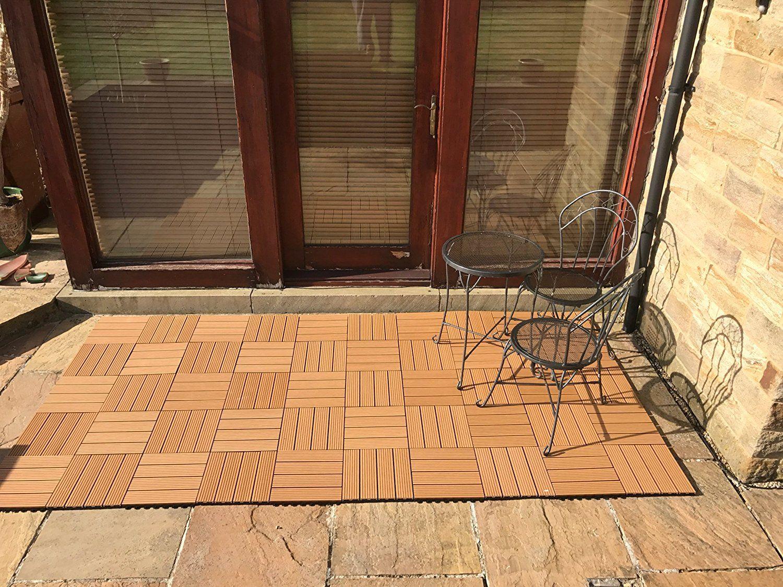 6 X Composite Sonnendeck Fliesen – Teak – Click-Deck – Terrasse