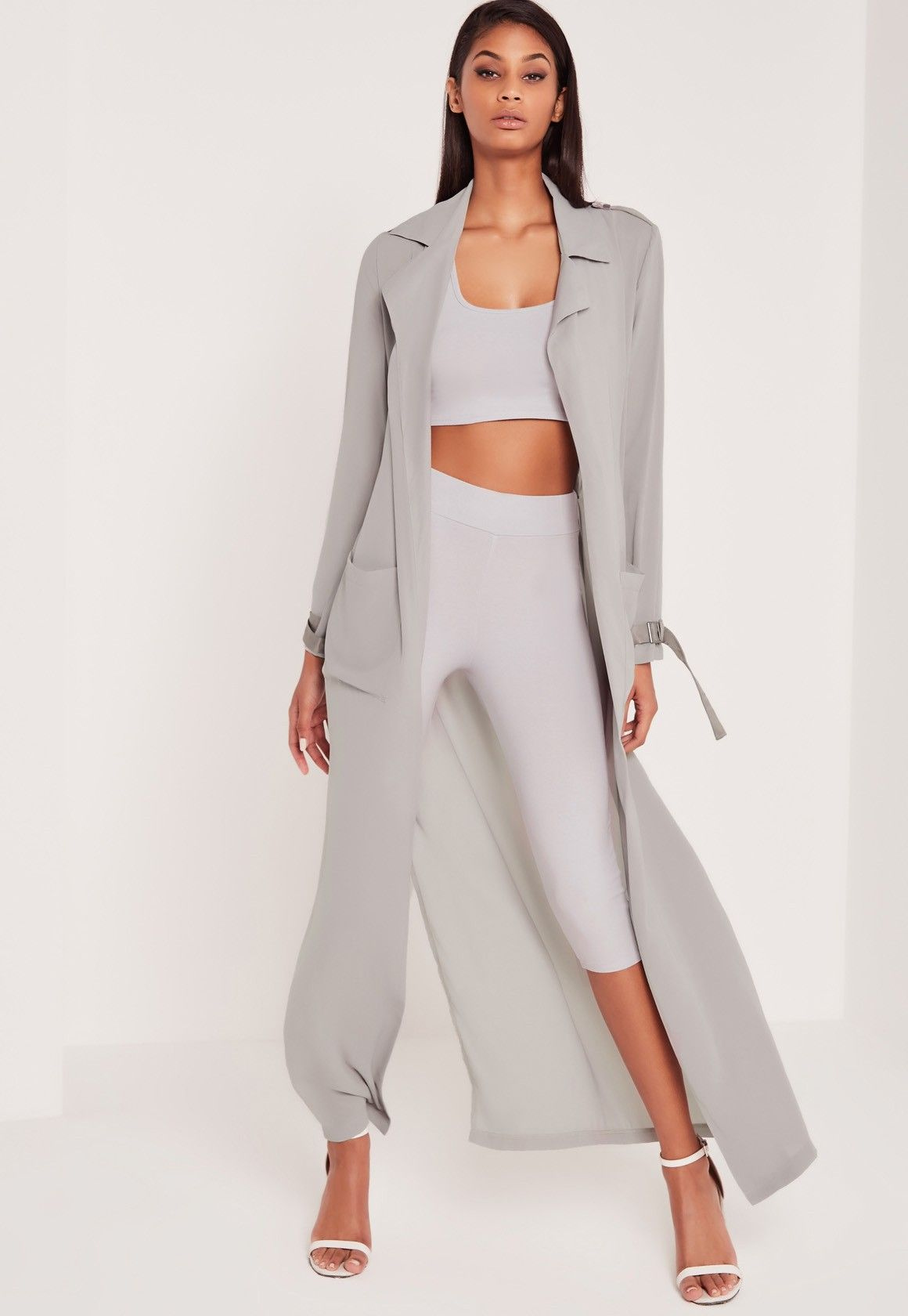 8b2c14f8d6 Missguided - Carli Bybel Maxi Duster Coat Grey | $$ can't buy style ...