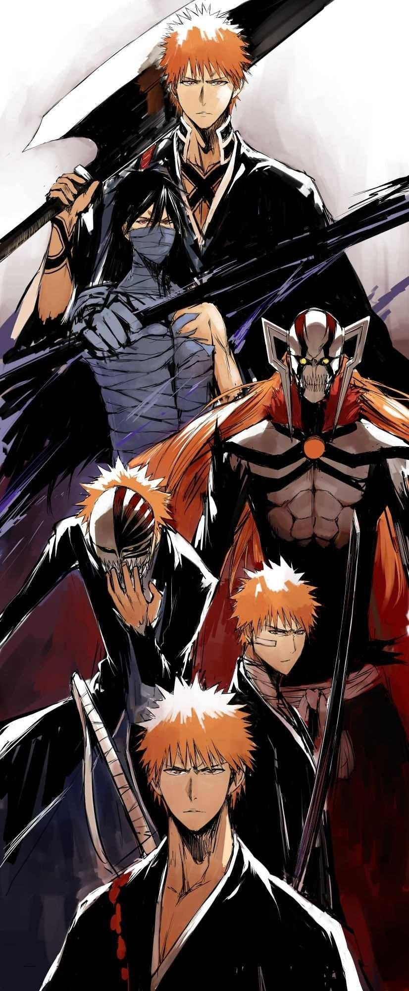 Bleach, Ichigo\'s evolution Human, shikai, Bankai, Hollow mask, Vasto ...