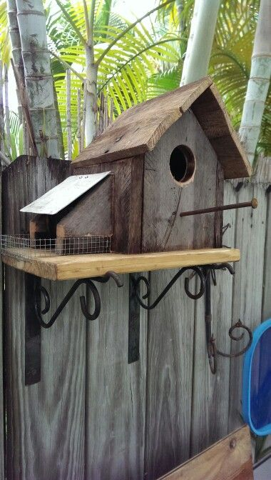 Custom made bird house with side feeder.Made by my  BabaluVal  Repurposed materials