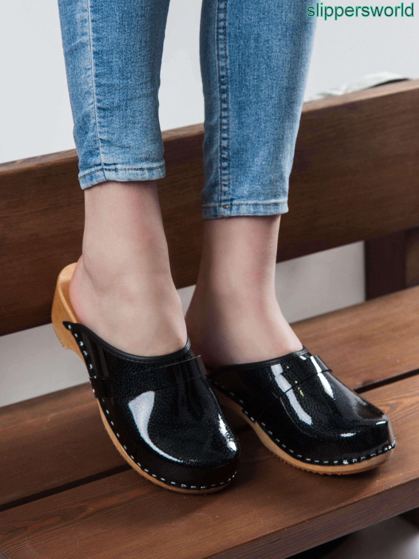 Womens Black handmade clogs and mules