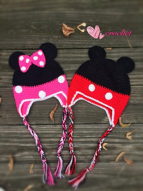 READY to Ship!Crochet Minnie Mouse Hat Crochet Mickey Mouse Hat 420244d7f3c