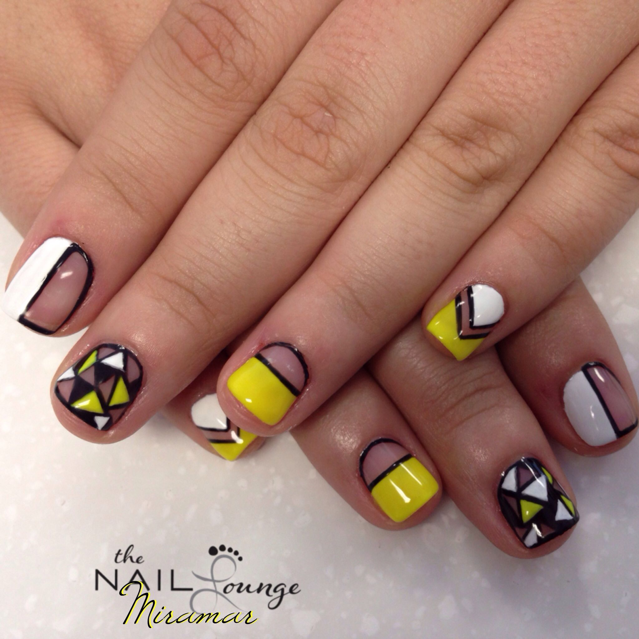 Negative Space Geometric Nail Art Design