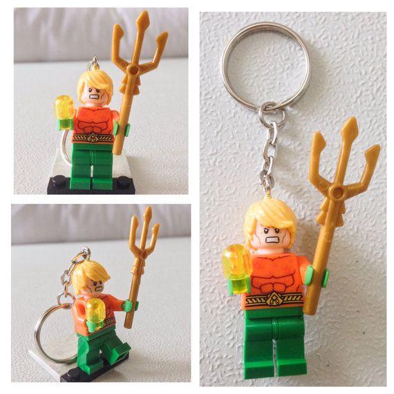 Aquaman Lego Cartoon Keychain Key Holder  Keyring Rubber PVC Zip Puller Fashion