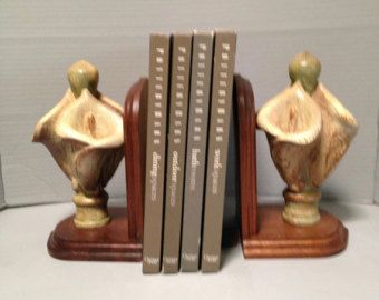 Vintage Carved Wood Bookends, Calla Lilly Bookends, Book Lovers Bookends, Office  Bookends,