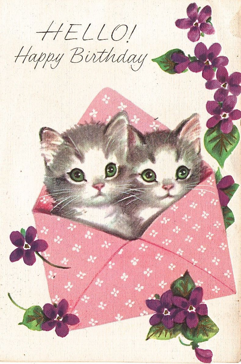 A sweetly beautiful vintage birthday card starring two cute green-eyed kitty cats. #kitten #cards #vintage