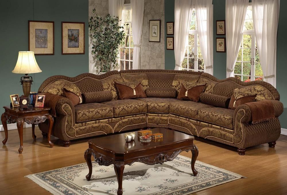 Traditional Modular Sectional Sofa In Antique Style With Art