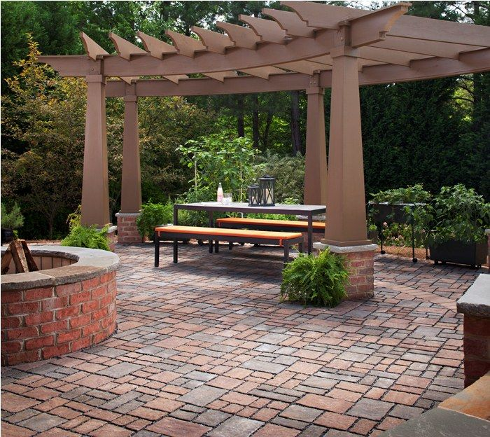 Paver Patio With Firepit Amp Pergola I Really Like The Red