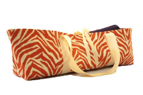 A SERENE BLEND OF CREAMSICLE ORANGE AND IVORY IN A BEAUTIFUL ANIMAL PRINT. Kim Michie. #yoga #yogaparty #yogabag