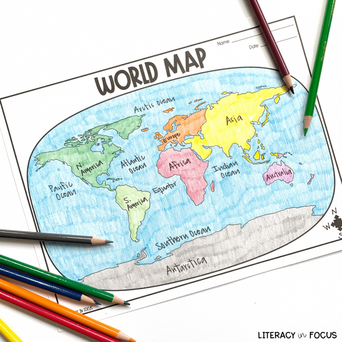 Printable World Map Worksheet And Quiz With Images