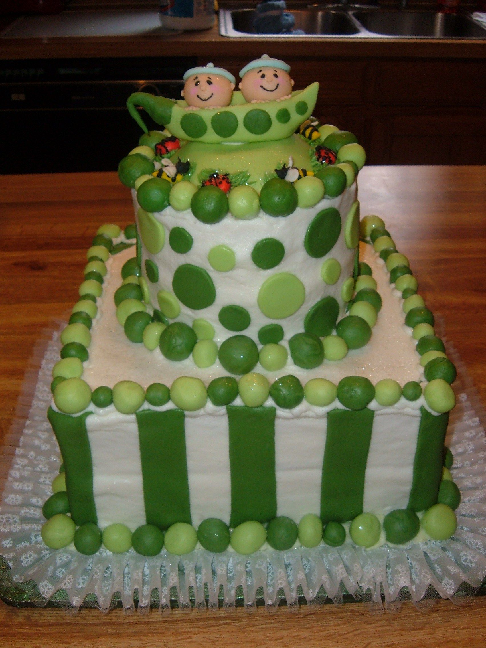 """Two Pea's in a Pod""....twin baby shower cake"