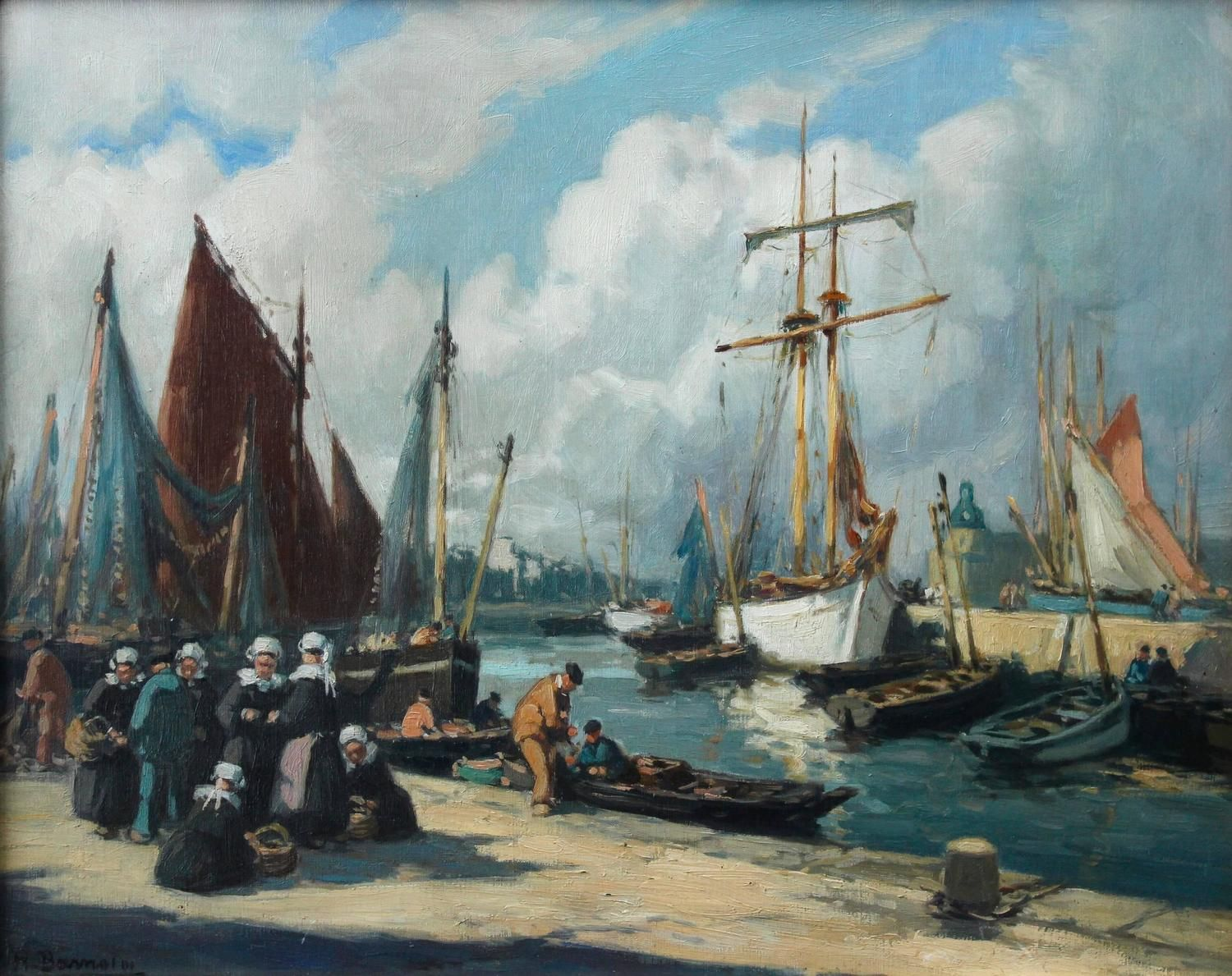 Kunststroming Romantiek Henri Alphonse Barnoin - The Harbour Concaneau - Henri