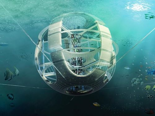 Architecture Future Houses Under Water Floating Of The