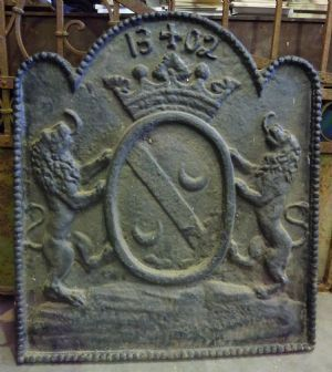 Antique French Fireplace Reflector Plate