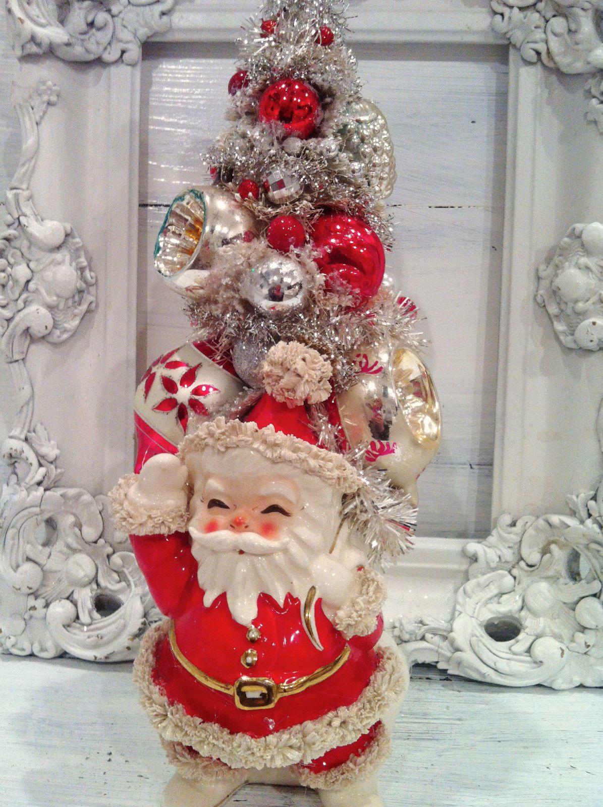 Vintage Spaghetti Santa Christmas Bottle Brush Tree