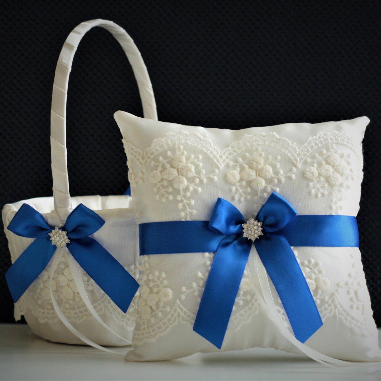 Royal Blue Bearer Blue Wedding Basket Blue Ring Bearer Pillow