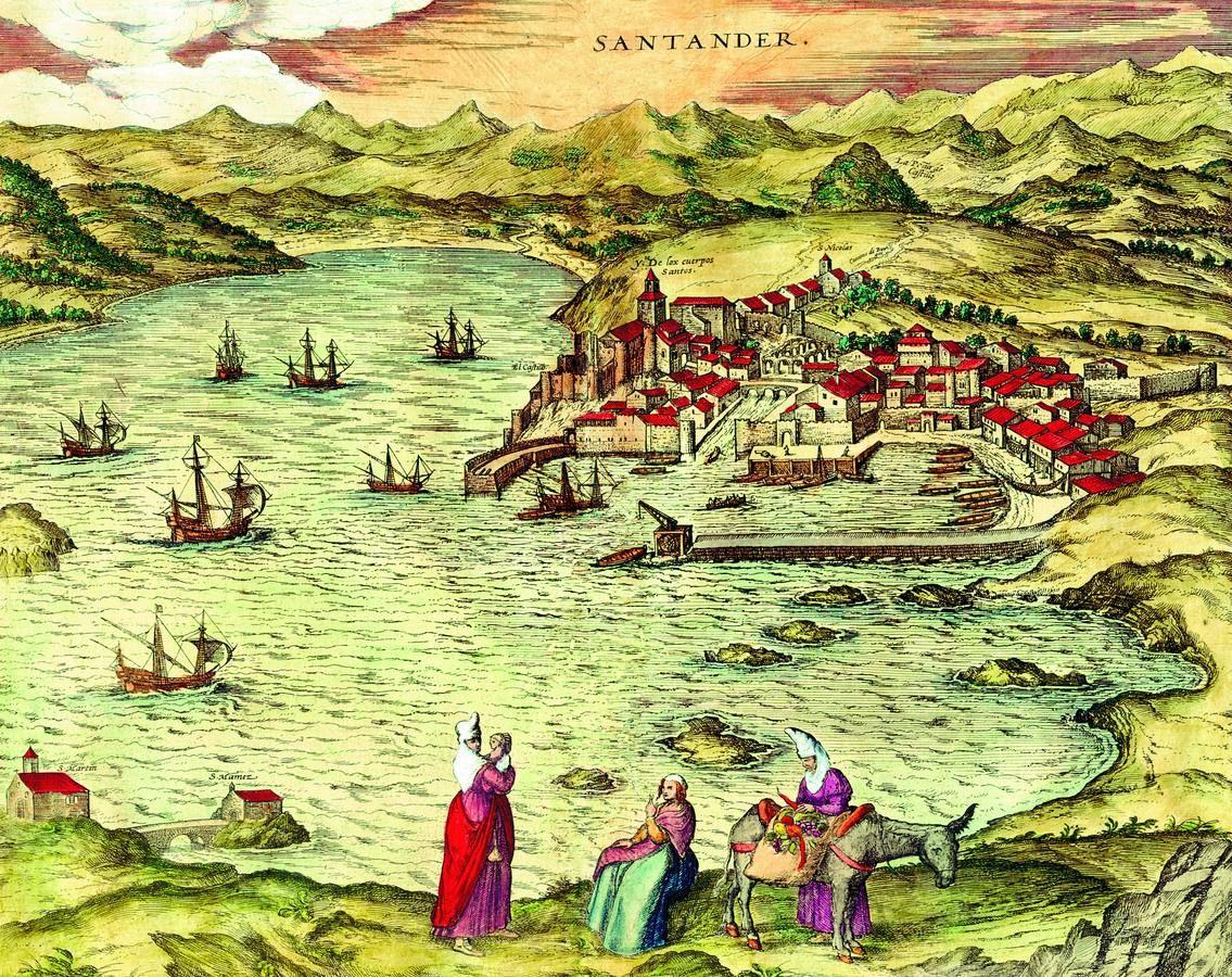 | SANTANDER La evolución histórica de San Martín En el siglo XVI, Braun dibuja la ermita de San Martín al izquierda del grabado debajo de la...