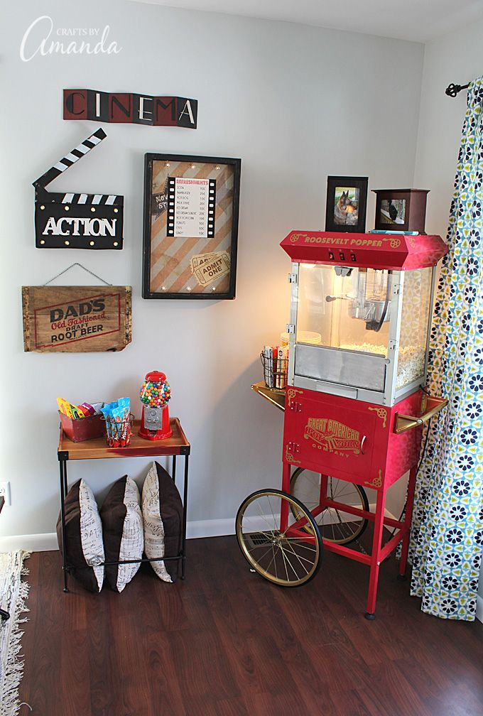 Decorate Your Family Room With Movie Theater Themed Decor For A