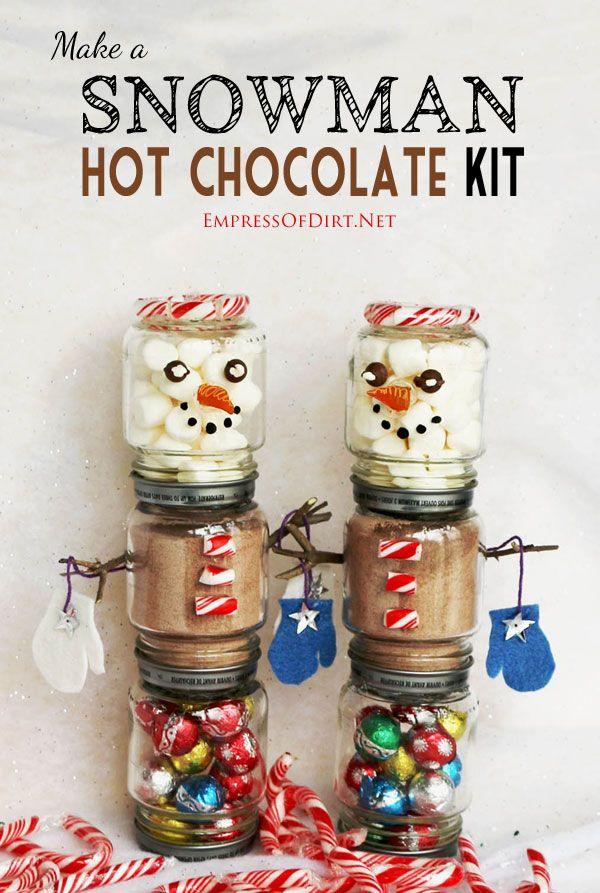 Snowman Hot Chocolate Kits | Make a snowman, Food jar and Baby ...
