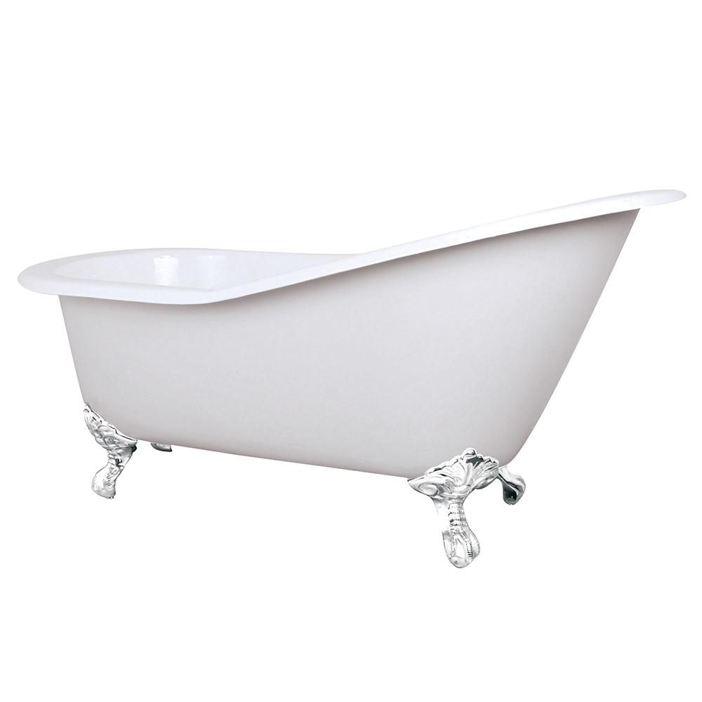 Aqua Eden 5 Ft Cast Iron Slipper Clawfoot Non Whirlpool Bathtub In White