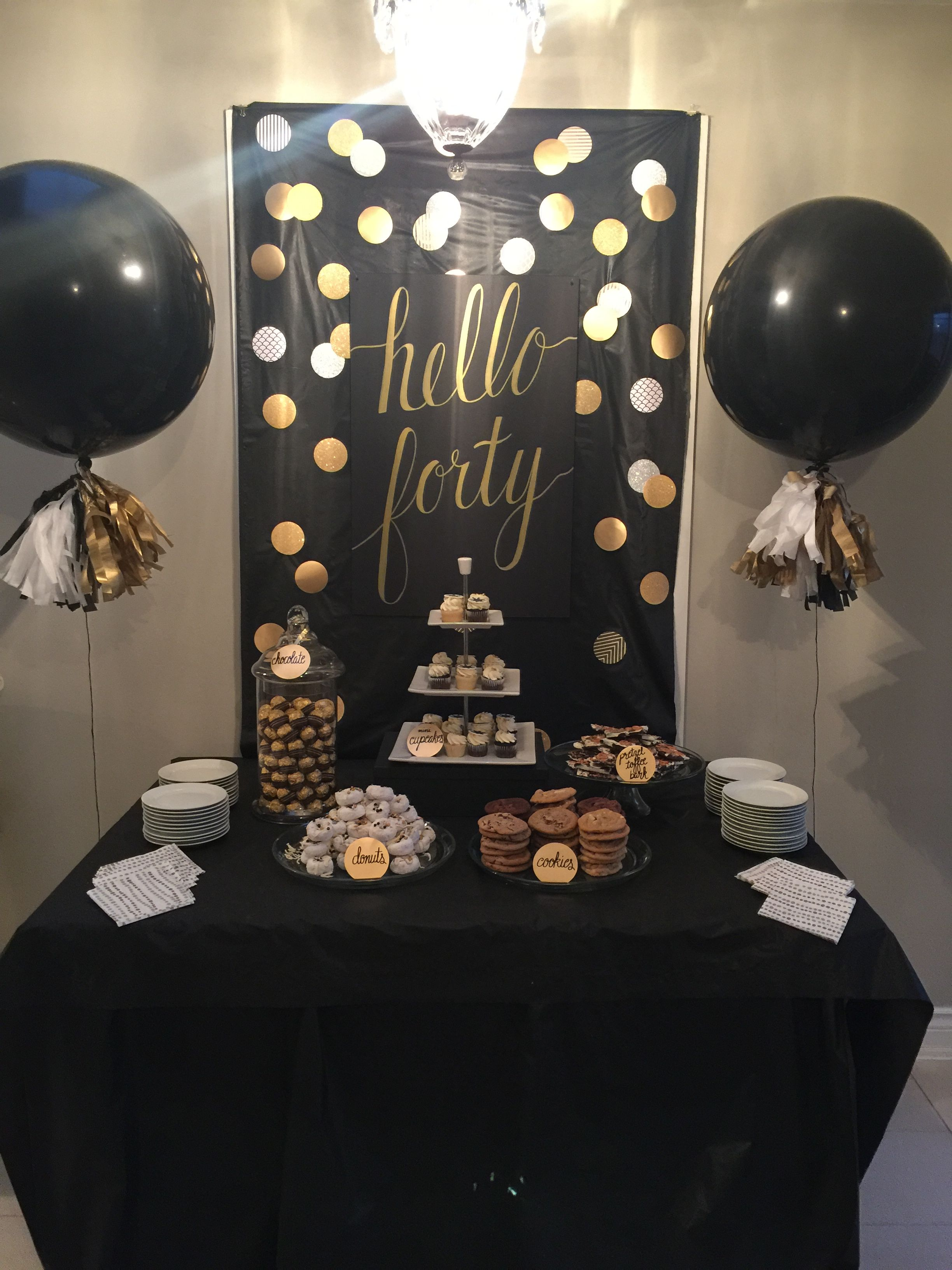 Black And Gold Sweet Table 40th Birthday Party Decorations Surprise 50th Birthday Party Gold Birthday Party