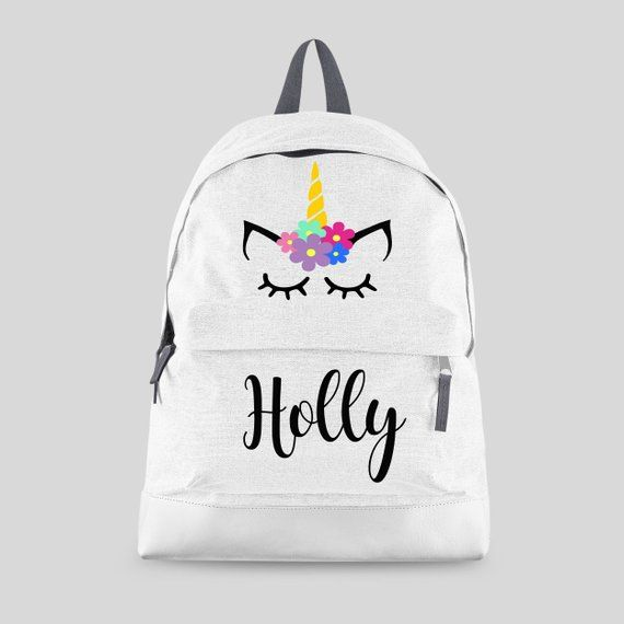 b9d6ca537b2 Personalised Unicorn Backpack with ANY NAME Kids Children   ETSY ...