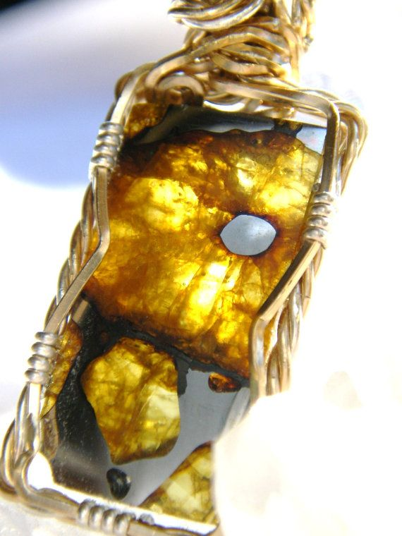 Imilac Meteorite Slice with 14K and Sterling by thanksloveart, $295.00