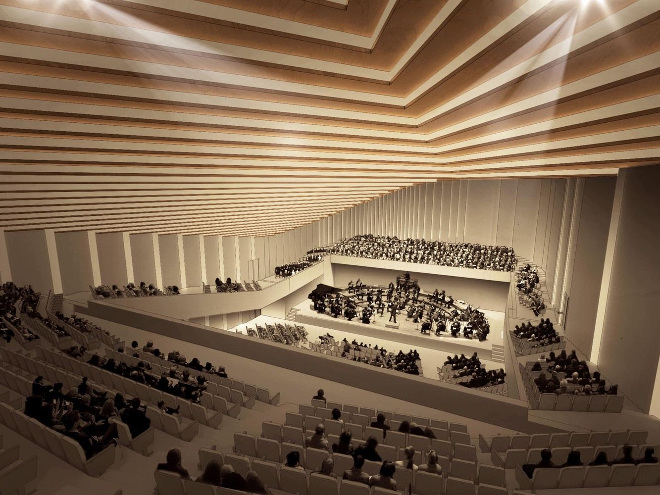 Gallery Of Award Winning Design Of Tokyo Music Hall Transforms Roof Into A Public Plaza 14 Auditorium Design Traditional Japanese Architecture Architecture