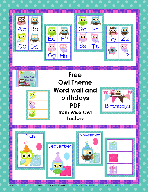 Free Owl Theme Classroom Printables Birthday words Owl and Owl