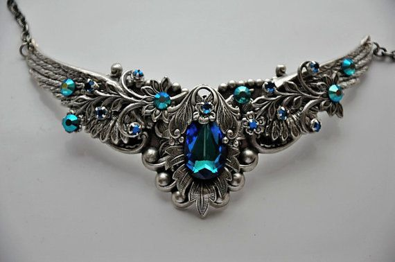 Victorian Style Choker, Swarovski Crystal BERMUDA BLUE Necklace,Antique Silver,Vintage Style Choker,Victorian Gothic Jewelry,BELLINI