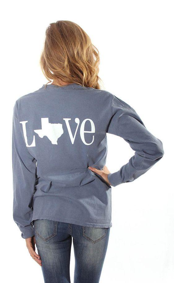 Riffraff Love Texas Comfort Colors Long Sleeve Blue Jean