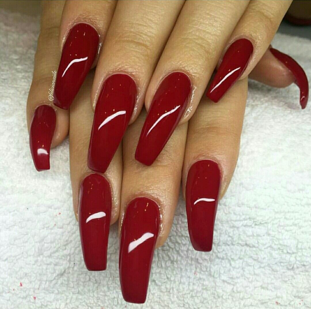 Outstanding Dark Red Nails Coffin Component - Nail Art Ideas ...