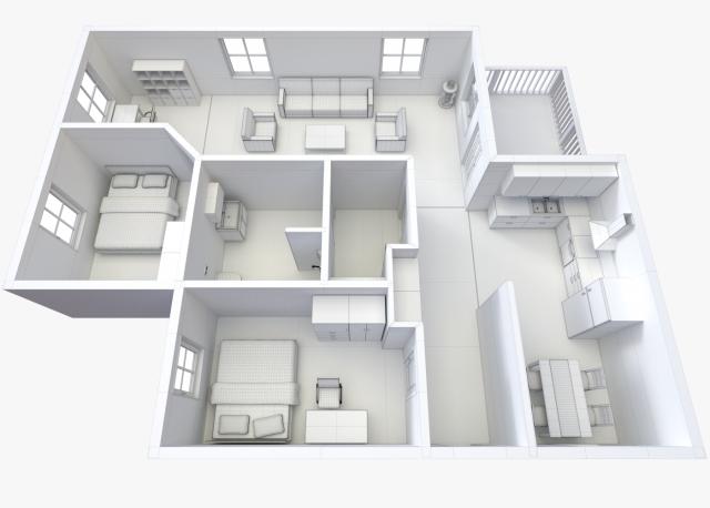 House Floor Plan 2 Non Textured Version 3d Model Max