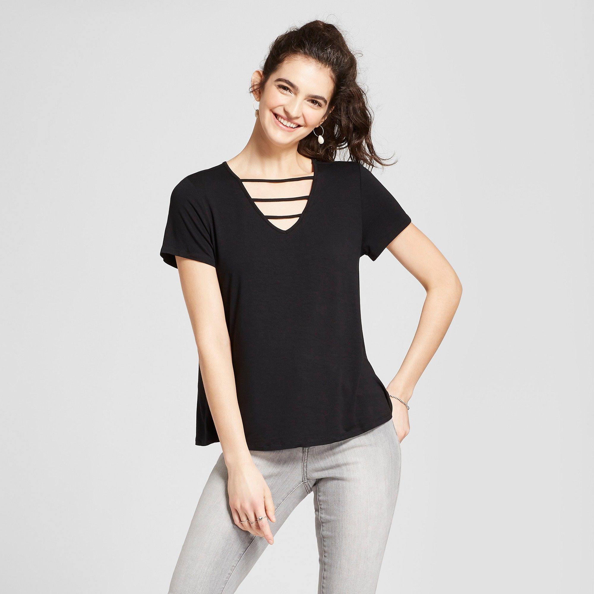 c1e5a017 Women's Short Sleeve T-Shirt with Neck Detail - Mossimo Supply Co. Black M