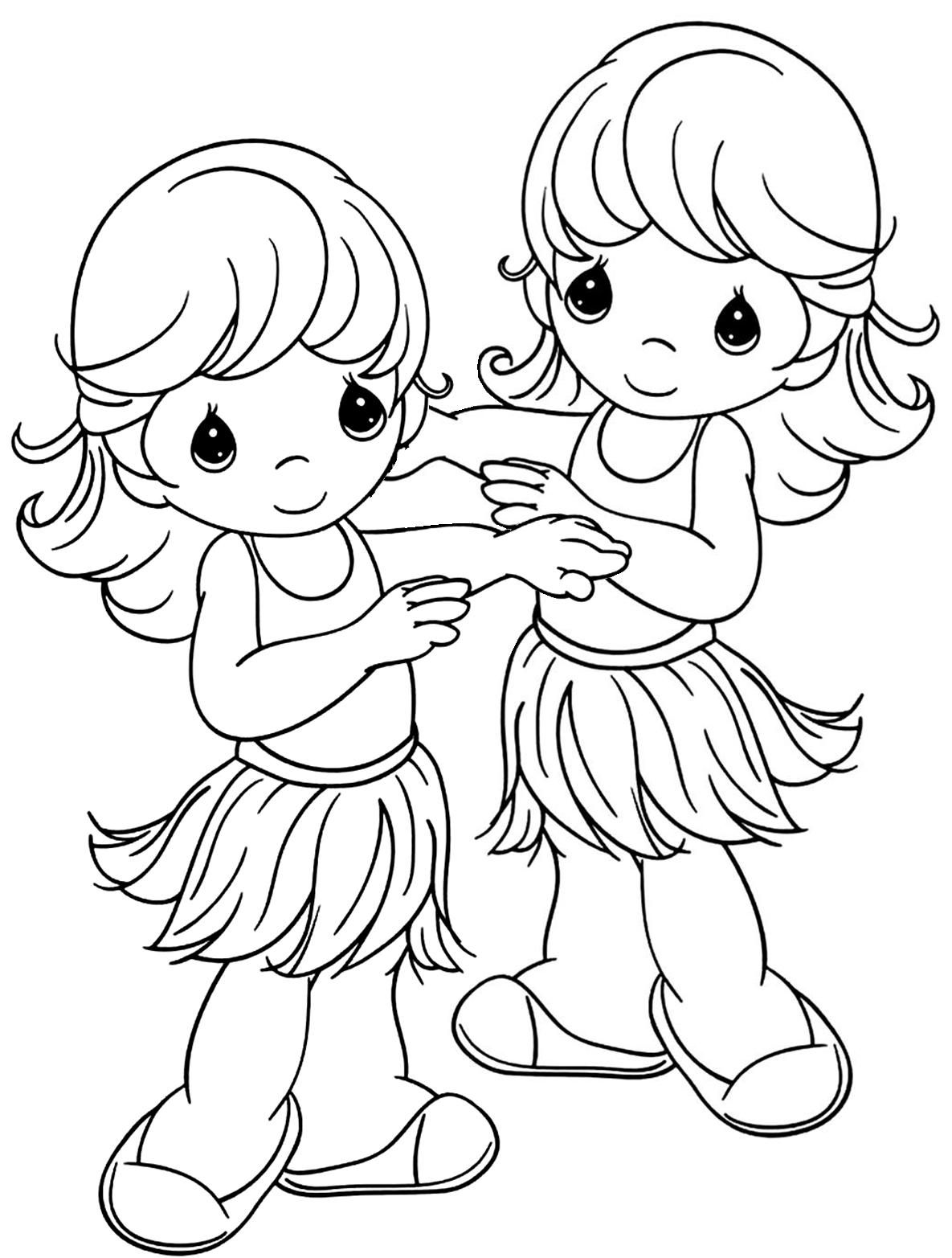 Beach party luau hula girls precious moments coloring page | Adult ...