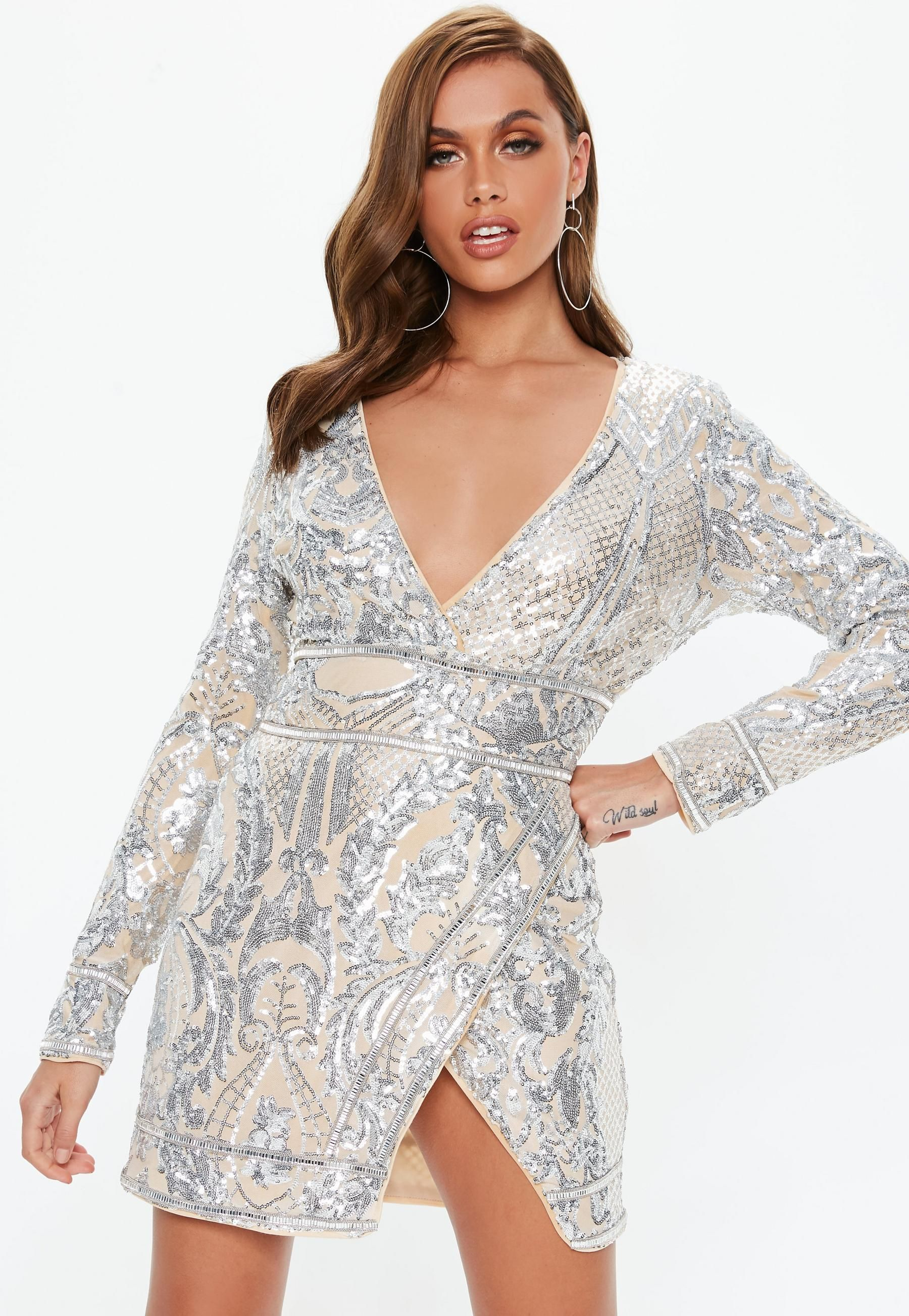 4b7659a5e89fb Nude Sequin Long Sleeve Mini Dress